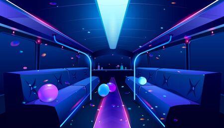 Autobus per feste all'interno. Illustrazione del fumetto vettoriale dell'interno di una discoteca vuota in limousine con luci da discoteca al neon, bar e comodi sedili per festeggiare il compleanno, il matrimonio o il festival
