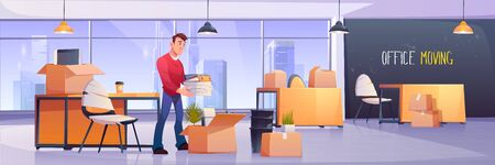 Vector illustration of office interior with manager and cardboard package boxes for move to another location. Employee folds work equipment, stationery and documents. Office moving, change address