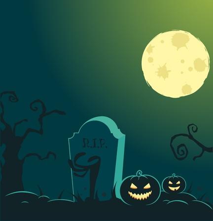 tombes: Arri�re-plan de Halloween avec la pleine lune, citrouilles et graves Illustration