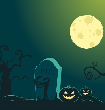 Halloween background with full moon, pumpkins and graves