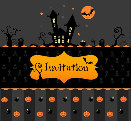 Vector halloween invitation card with pumpkns, bats and black house Illustration