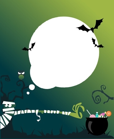 Vector halloween background with zombie for kids parties