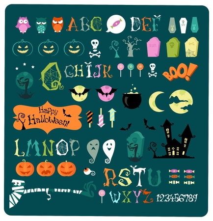 Big collection of vector elements for halloween Çizim