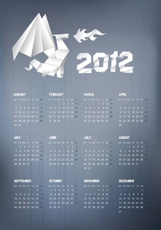 2012 Origami dragon calendar on grunge background Vector