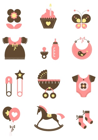 babero: Iconos de lindo bebé para postales, cartas, invitaciones o bitácoras