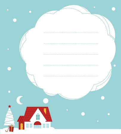 Vector Christmas card: cute little house under the snow