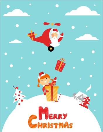 Vector Chrismas card: with  a girl, santa, a gift and a cute little house Vector