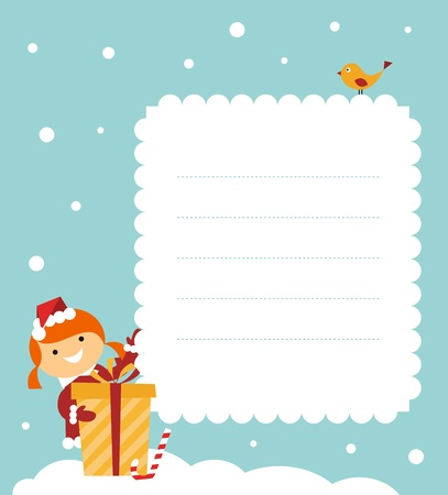 Christmas card: cute little girl with a gift  Vector