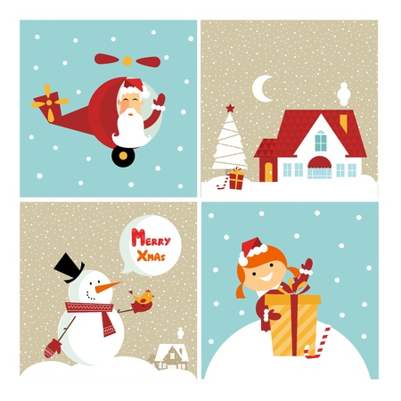 Vector Chrismas icons: with  a girl, santa, a gift and a cute little house photo