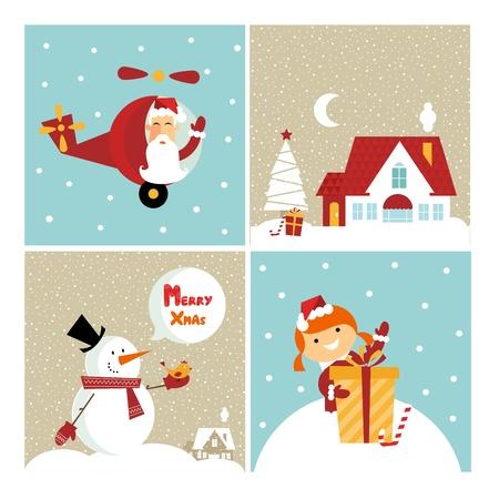 cristmas card: Vector Chrismas icons: with  a girl, santa, a gift and a cute little house