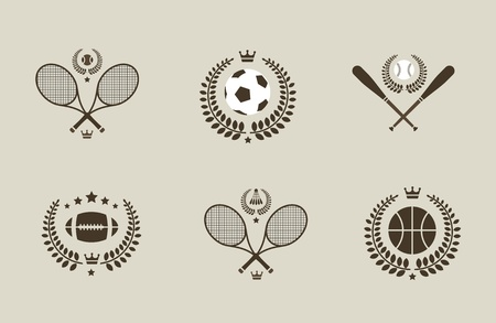 Sport emblems of soccer tennis baseball basketball Illustration