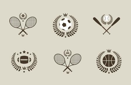 Sport emblems of soccer tennis baseball basketball Çizim