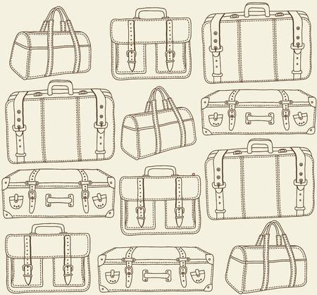 손으로 그린 여행 가방 원활한 패턴 벡터 스톡 콘텐츠