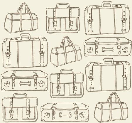 packed: Hand drawn Travel bags vector seamless pattern
