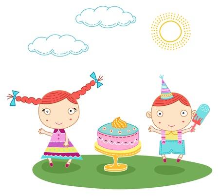 plait: Cute bithday card with a boy and a girl