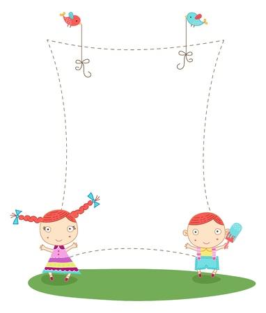 cartoon frame: Cartoon telaio carino con un ragazzo e una ragazza Vettoriali