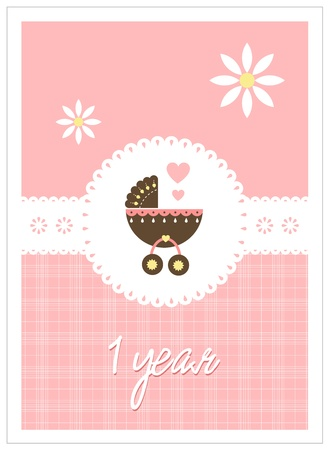 stroller: Blue aby card for girls (1 year) Illustration