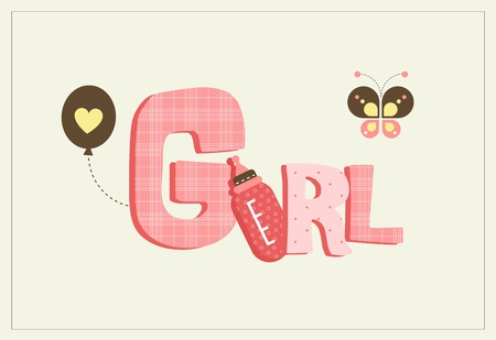 Cute card for a new born girl with butterfly and milk bottle Illustration