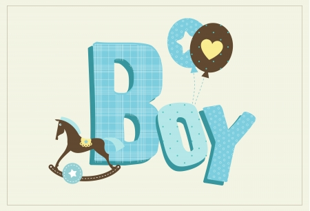 horse care: Cute card for a new born boy with horse and balloons