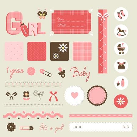 baby biberon: Scrapbook baby set - ragazza