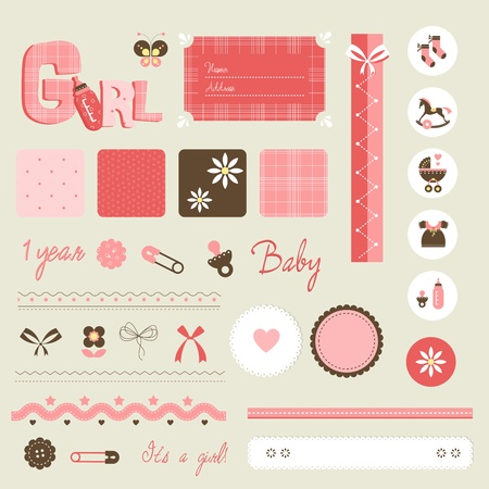 scrapbook baby set - girl 向量圖像