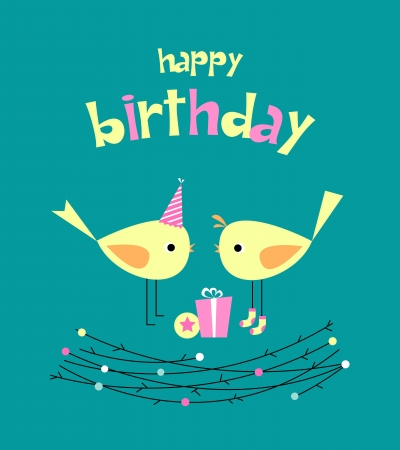 Cute birthday card with birds with gifts Stock Vector - 10683528