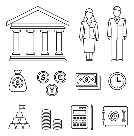 Stylish outlined icons with various financial elements Vector