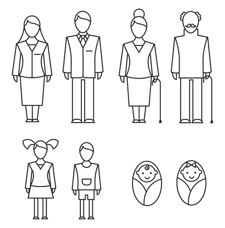 Outlined icons of family members (parents, grandparents, kids)