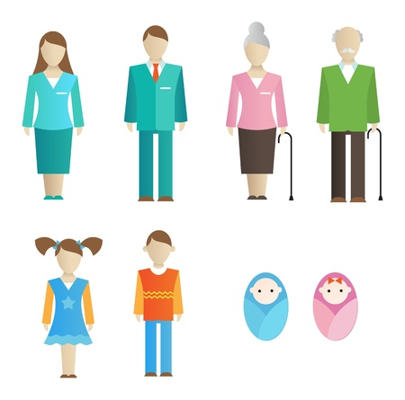 Outlined icons of family members (parents, grandparents, kids) Vector