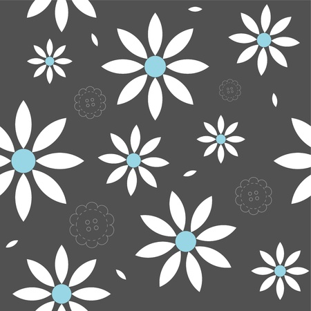 Seamless cute spring or summer flowers pattern Vector