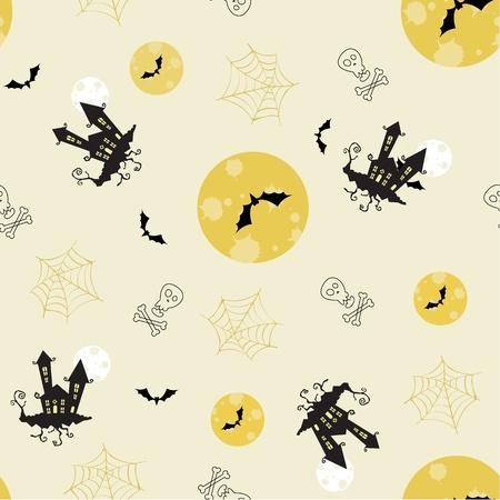 Cute vector seamless halloween pattern (cartoon style) Vector