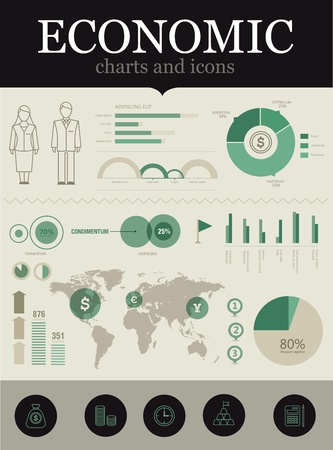 Set of various icons and charts for business reports Stock Vector - 10945444