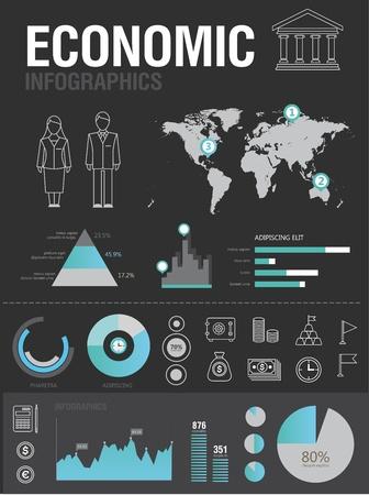 economie: Set van verschillende iconen en grafieken voor de zakelijke rapporten