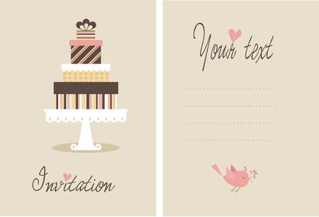 wedding cake illustration: A cute vector invitation card for a wedding or bithday