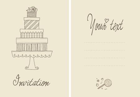 결혼식이나 bithday에 대한 귀여운 벡터 초대 카드