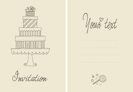A cute vector invitation card for a wedding or bithday  Vector