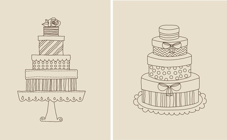 wedding cake: Vector illustration of doodle cake and gift boxes