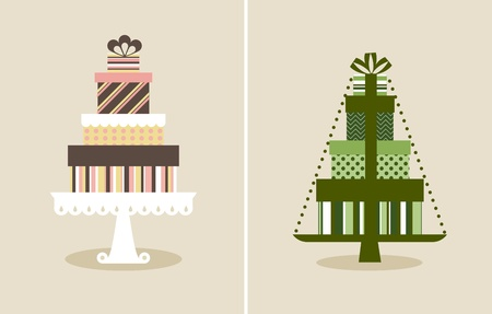 christmas cake: Vector illustration of a pile of gifts Illustration
