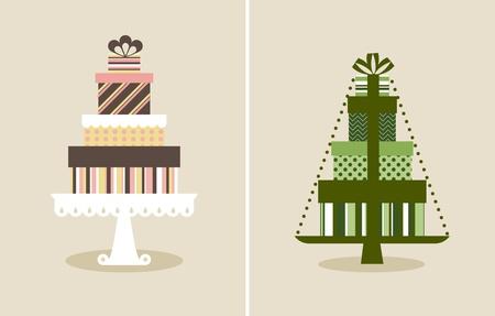 weihnachtskuchen: Vektor-Illustration von einem Stapel von Geschenken Illustration