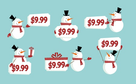 Winter price tags with cute vector snowman