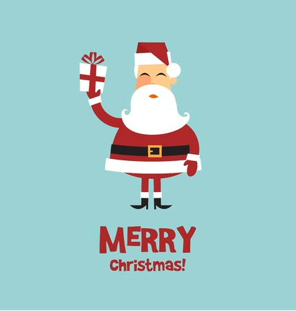 Vector christmas card santa claus with a gift