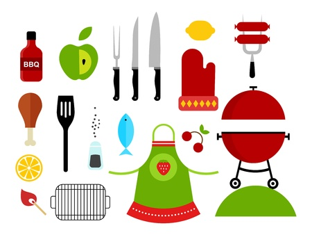 eating utensil: Vector set of various food barbecue icons