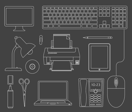 Vector outlined set of office computer devices Vector