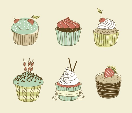 Vector illustration of six delitious cupcakes in retro style Illustration