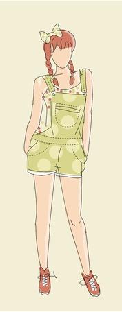 Very cute vector hand drawn Fashion illustration Vector