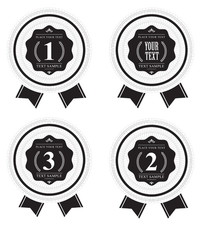 Hight quality vector badges with Guilloche element Vector