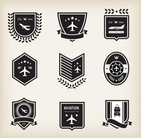 aeronautic: set of plane aviation badge and labels