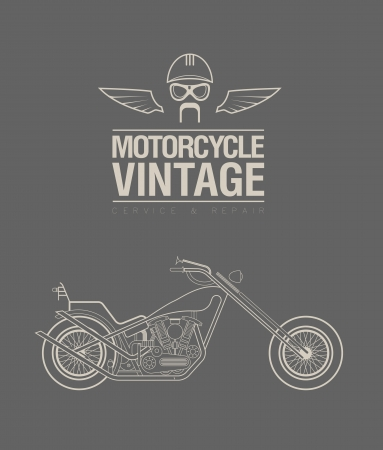 bicycle race: illustration of a stylized vintage motorcycle
