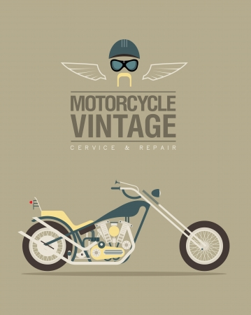 old motorcycle: illustration of a stylized vintage motorcycle