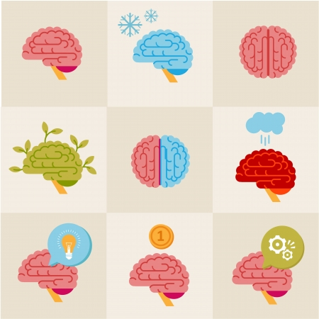 set of 9 brain icon designs photo